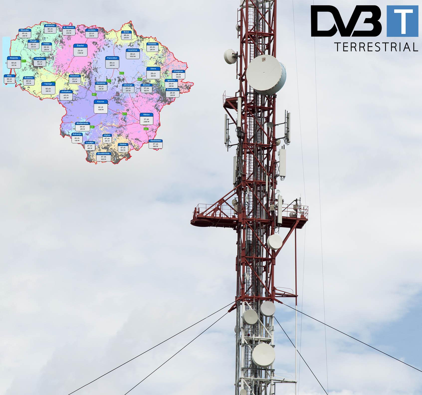 Skaitmeninės TV siųstuvų žemėlapis