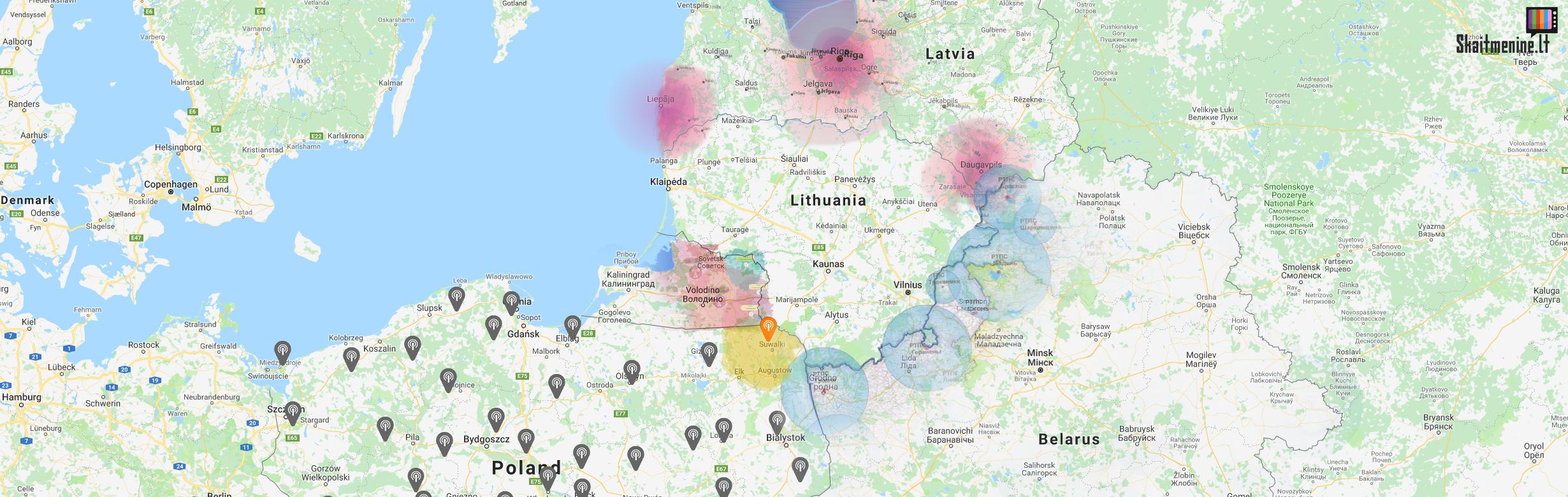 Kaimyninių šalių skaitmeninės televizijos DVB-T bokštai