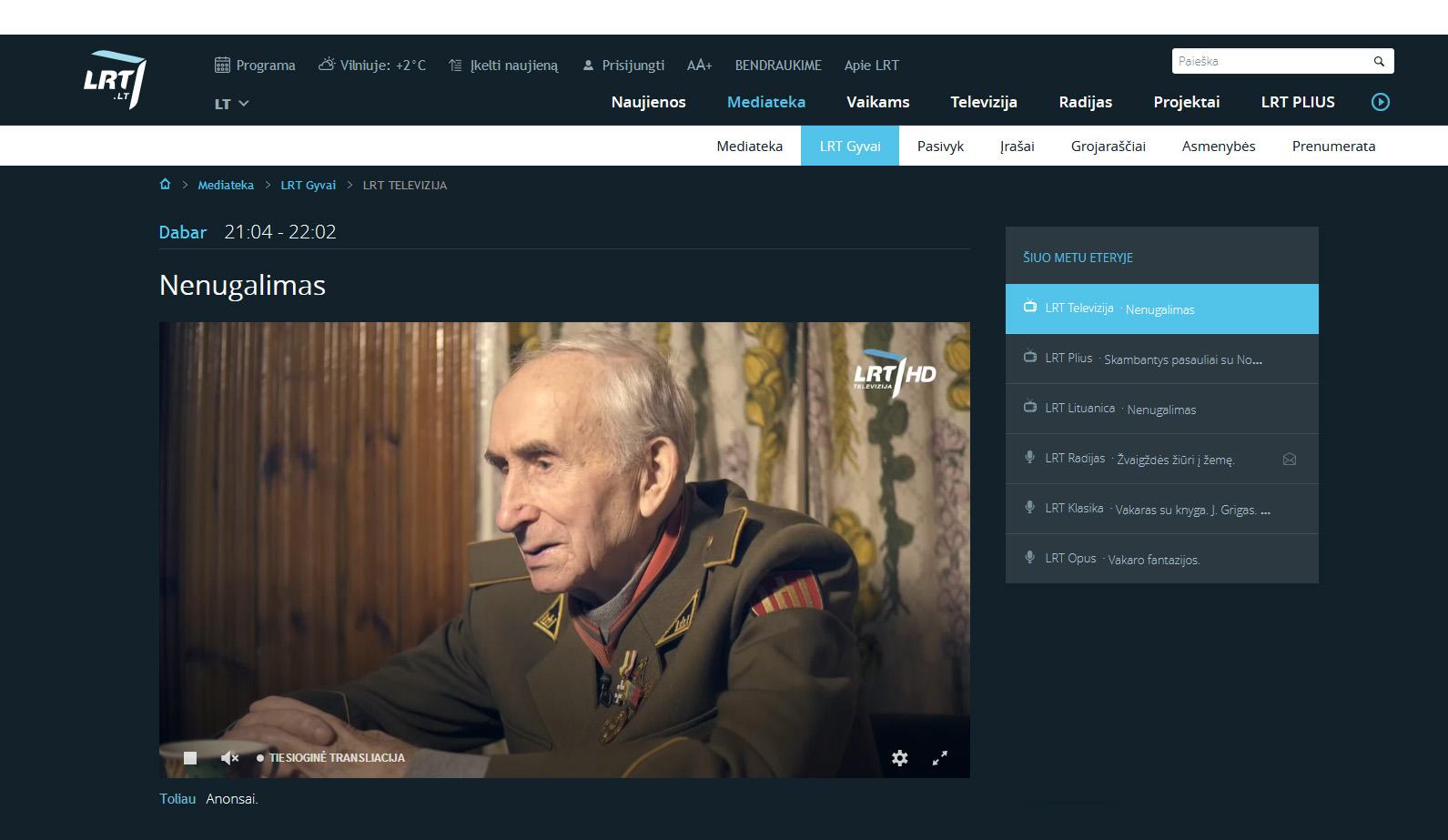 LRT HD Kanalai tiesiogiai internetu